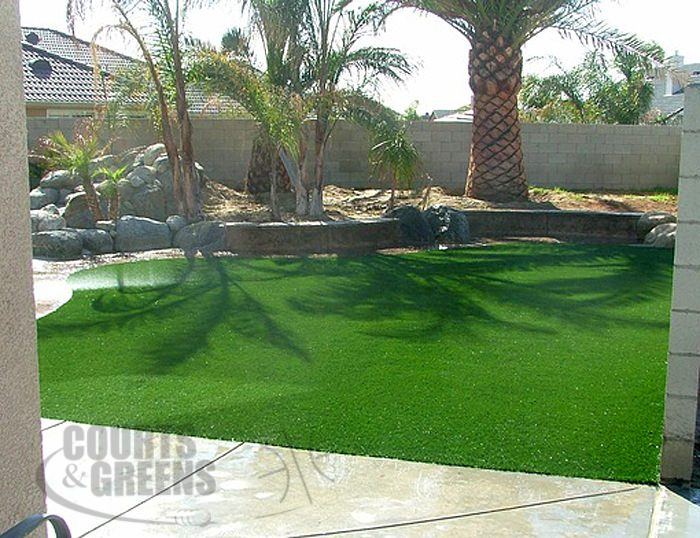 backyard synthetic lawn by Courts and Greens in Bakersfield