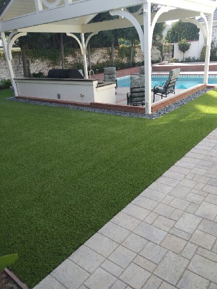 gorgeous installation of backyard synthetic grass by courts and greens in Bakersfield