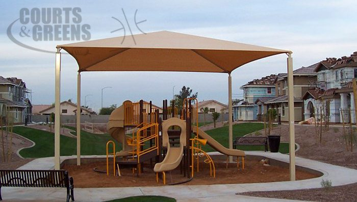 functional park shaded structures by Courts and Greens in Bakersfield