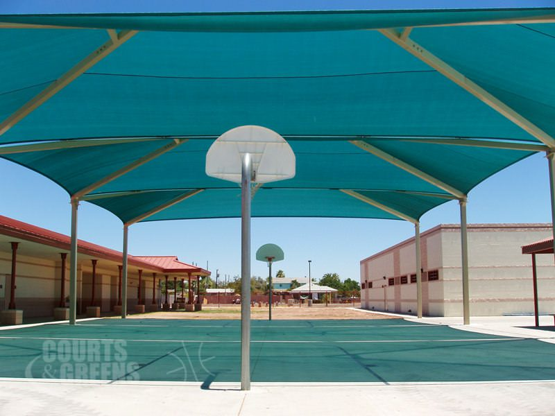 professional park basketball court and shade structure by Courts and Greens in Bakersfield