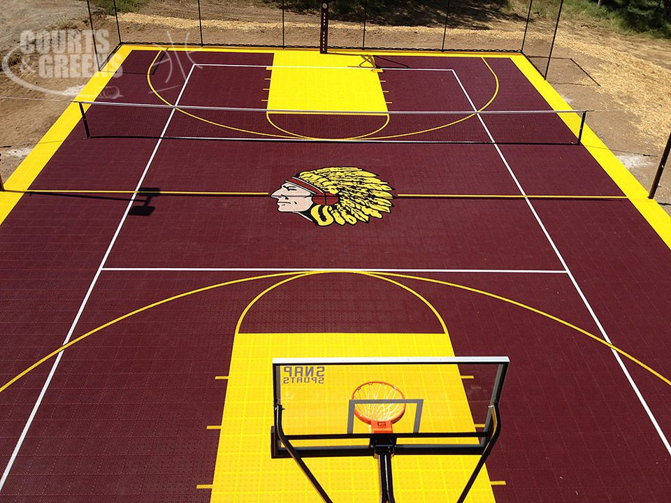 favorite college team custom basketball courts by Courts and Greens in Bakersfield