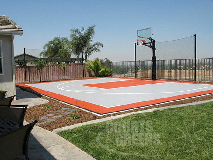 creatively custom colored basketball courts by Courts and Greens in Bakersfield