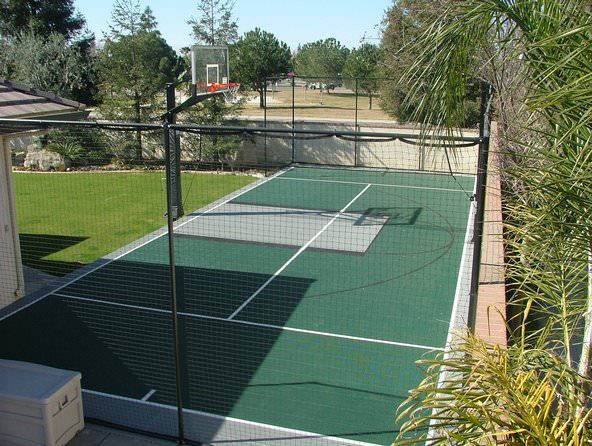 beautiful basketball court designed and installed by Courts and greens in Bakersfield