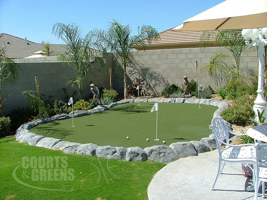 perfectly installed putting greens by Courts and Greens in Bakersfield