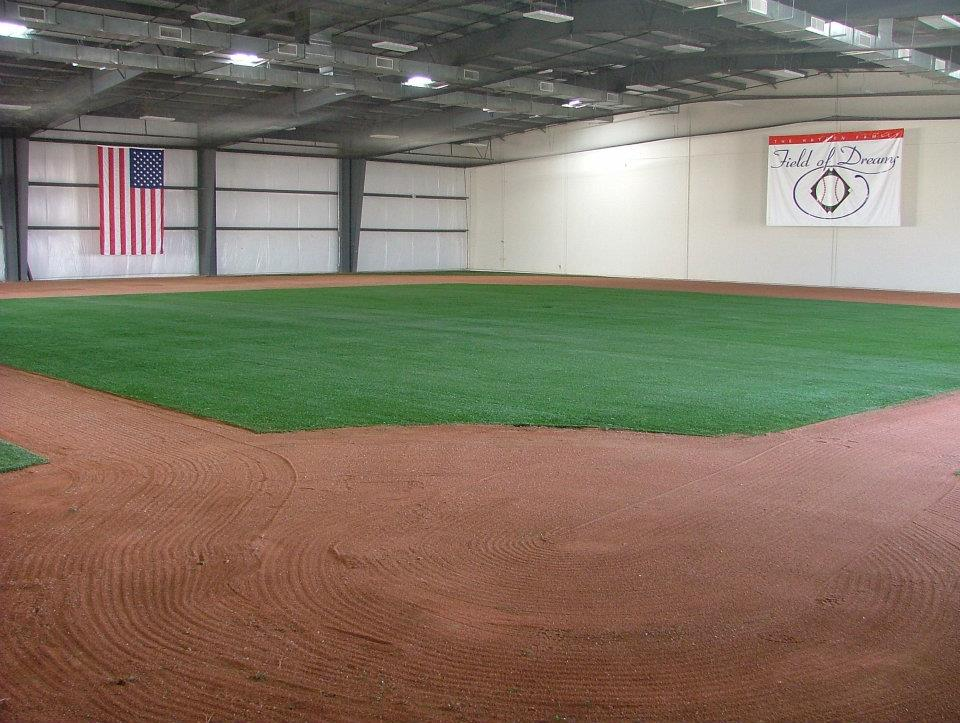 indoor baseball field syn turf installed by Courts and Greens in Bakersfield