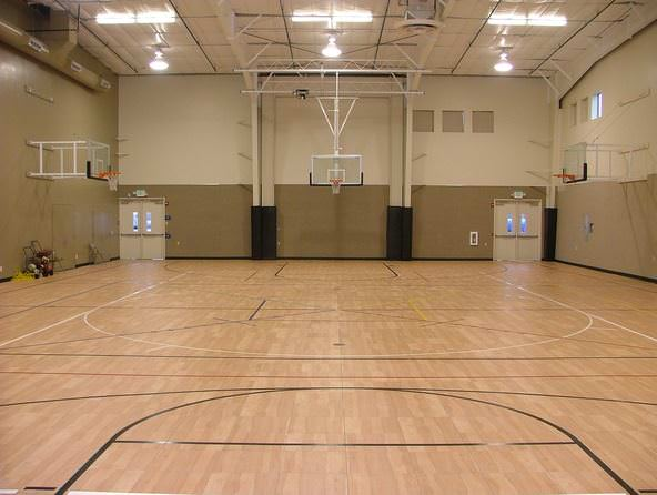 custom basketball gym set up by Courts and Greens in Bakersfield