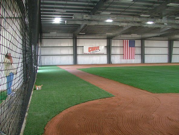 indoor baseball field synthetic turf install by Courts and Greens in Bakersfield