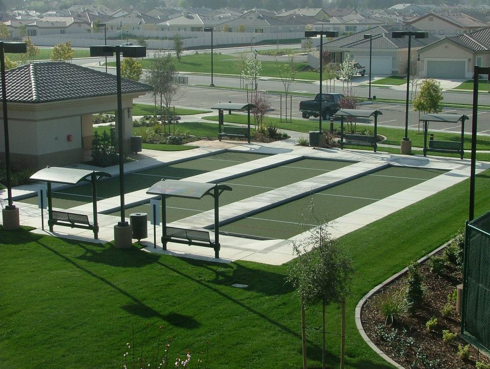 built custom shuffle-board courts by Courts and greens in Bakersfield