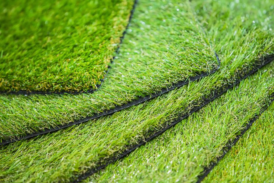 sample artificial turf squares available by Courts and greens in Bakersfield